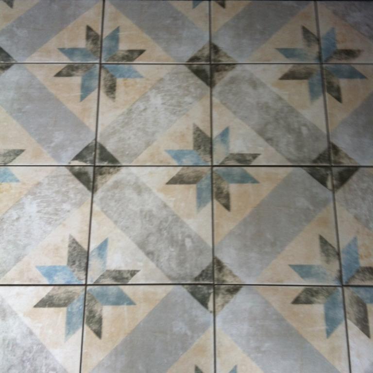 Keramische Vintage retro tegels Pompei star blue 25 x 25